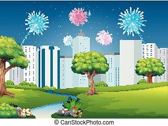 όμορφος , κτίριο , κήπος , πυροτεχνήματα , φόντο , cityscape