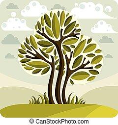 όμορφος , λιβάδι , ειδυλλιακός , τέχνη , eco, άνοιξη , εικόνα , διορατικότητα , δέντρο , εικόνα , clouds., διαμορφώνω κατά ορισμένο τρόπο , ιδέα , μικροβιοφορέας , picture., ώρα , εποχή , ακμάζω , νεράιδα , τοπίο