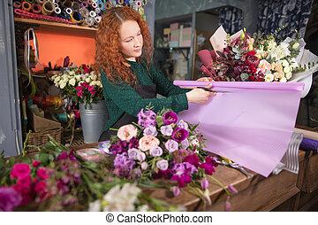 όμορφος , λουλούδια , εντός κτίριου , εργαζόμενος