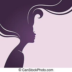 όμορφος , μαλλιά , γυναικείος , περίγραμμα
