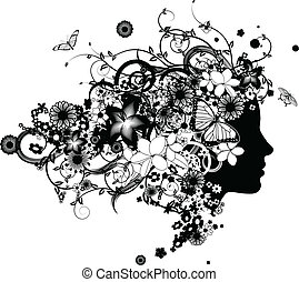όμορφος , μαλλιά , λουλούδια , γυναίκα , γινώμενος