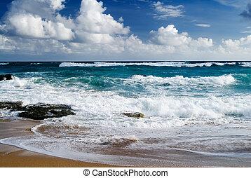 όμορφος , μεγάλος , παραλία , ανεμίζω