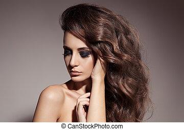 όμορφος , μελαχροινή , κατσαρός , μακριά , hair., woman.