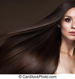 όμορφος , μελαχροινή , ομορφιά , κλασικός , face., κίνηση , λείος , μαλλιά , make-up., κορίτσι , perfectly