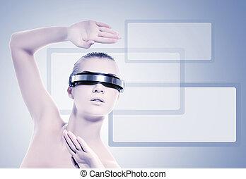 όμορφος , μπλε , γυναίκα , απομονωμένος , cyber , φόντο