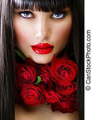 όμορφος , μόδα , κορίτσι , με , τριαντάφυλλο