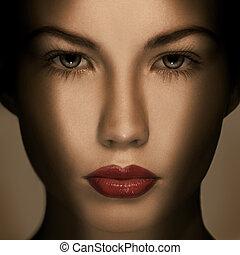 όμορφος , μόδα , πολυτέλεια , μακιγιάζ