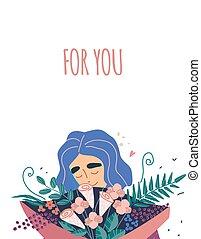 όμορφος , νέος , μπουκέτο , γυναίκα , λουλούδια , κράτημα