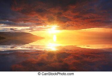όμορφος , νερό , ουρανόs , αντανάκλαση , ηλιοβασίλεμα
