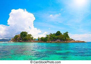 όμορφος , νησί , θάλασσα , τροπικός