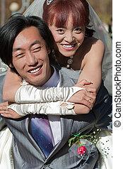 όμορφος , νύμφη , πίσω , (1), groom's, ευτυχισμένος