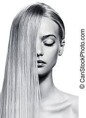 όμορφος , ξανθομάλλα , girl., υγιεινός , μακριά , hair., bw , εικόνα
