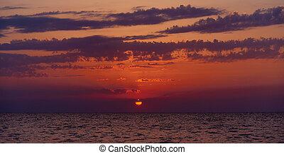 όμορφος , πάνω , ηλιοβασίλεμα , ατάραχα , sea.