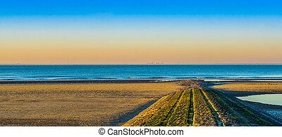 όμορφος , πέτρα , αρχηγία , περίπατος , βράχος , blankenberge, ηλιοβασίλεμα , θάλασσα , ατραπός , belgium., παραλία