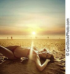 όμορφος , παραλία , με γραμμές , τροπικός , πορτραίτο , κυρία