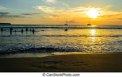 όμορφος , παραλία , layan, phuket απομονώνω , ηλιοβασίλεμα , σιάμ