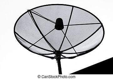 όμορφος , πιάτο δορυφορικής κεραίας , απομονωμένος , αναμμένος αγαθός , φόντο