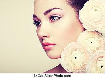 όμορφος , πορτραίτο , λουλούδια , γυναίκα , νέος