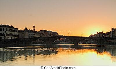 όμορφος , πόλη , γριά , arno , πάνω , ποτάμι , florence , ανατολή