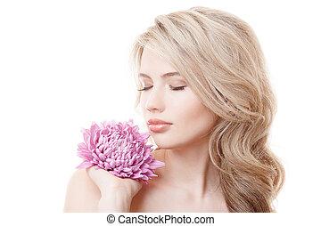 όμορφος , ροζ , γυναίκα αμπάρι , χρυσάνθεμο