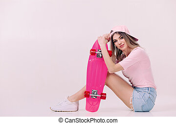 όμορφος , ροζ , γυναίκα , skateboard , φανελάκι , άσπρο