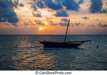 όμορφος , τροπικός , ηλιοβασίλεμα , βάρκα