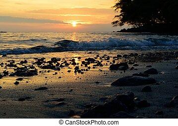 όμορφος , τροπικός , ηλιοβασίλεμα , χαβάη , οκεανόs