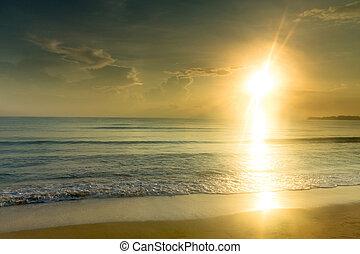 όμορφος , τροπικός , πάνω , παραλία , ανατολή