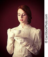 όμορφος , τσάι , κοκκινομάλλης , γυναίκεs , κύπελο