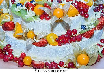 όμορφος , φρούτο , μικρό , τμήμα , γαμήλια τούρτα