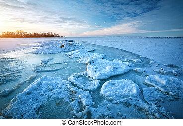 όμορφος , φυσικός , χειμώναs , παγωμένος , θαλασσογραφία , θάλασσα , ώρα , κατά την διάρκεια , sunset.