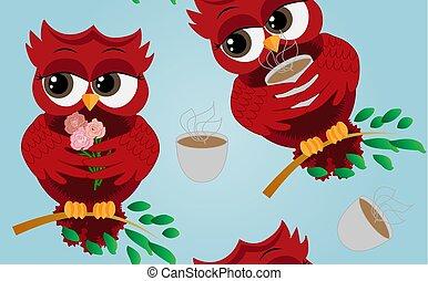 όμορφος , χαριτωμένος , κύπελο , αχνίζων , αφέψημα καφέ , ερωτότροπος , σοκολάτα , παράρτημα , κουκουβάγια , ή , κόκκινο