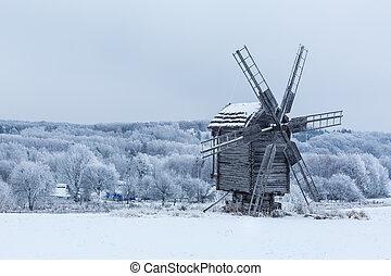 όμορφος , χειμώναs , ανεμόμυλος , τοπίο , μέσα , ουκρανία
