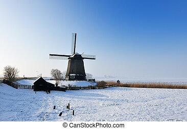 όμορφος , χειμώναs , ανεμόμυλος , τοπίο