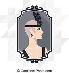 όμορφος , 1920s, retro , φόντο , κορίτσι , style.