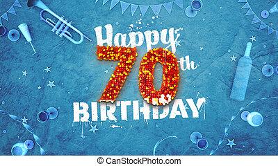 όμορφος , 70th, γενέθλια , καθέκαστα , κάρτα , ευτυχισμένος