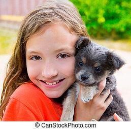 όμορφος , chihuahua , κουτάβι , πορτραίτο , κορίτσι , βαλτώδης , παιδί