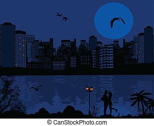 όμορφος , cityscape , ζευγάρι , περίγραμμα , φόντο