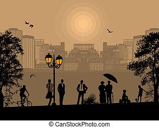 όμορφος , cityscape , περίγραμμα , άνθρωποι