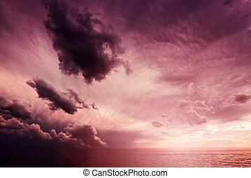 όμορφος , cloudscape , πάνω , ηλιοβασίλεμα , θάλασσα