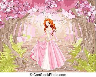 όμορφος , haired , πριγκίπισα , κόκκινο