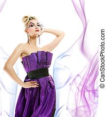 όμορφος , hairstyle , γυναίκα , μοντέρνος , αφαιρώ , μακιγιάζ , δημιουργικός , φόντο , φόρεμα