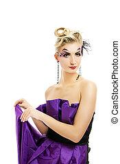 όμορφος , hairstyle , γυναίκα , μοντέρνος , μακιγιάζ , δημιουργικός , φόρεμα