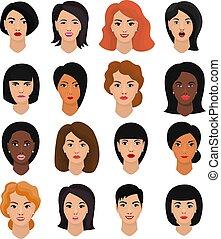 όμορφος , hairstyle , θέτω , τονίζομαι , αναπαριστώ , μικροβιοφορέας , χαρακτήρας , απομονωμένος , φόντο , γελοιογραφία , πρόσωπο , γυναίκα , διάφορος , εικόνα , γυναίκα , γδέρνω , πορτραίτο , κορίτσι , ζεσεεδ , του προσώπου , άσπρο