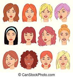 όμορφος , hairstyle , θέτω , φόντο , χαρακτήρας , απομονωμένος , εικόνα , γελοιογραφία , πρόσωπο , γυναίκα , μικροβιοφορέας , γυναίκα , πορτραίτο , κορίτσι , ζεσεεδ , του προσώπου , άσπρο , αναπαριστώ