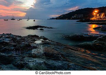 όμορφος , patong , phuket , θαλασσογραφία , κόλπος , ηλιοβασίλεμα , σιάμ , παραλία