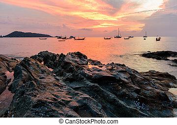όμορφος , phuket , ηλιοβασίλεμα , βράχοs , σιάμ , παραλία