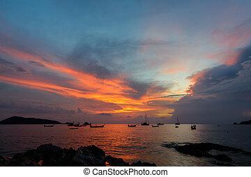όμορφος , phuket , θαλασσογραφία , κόλπος , ηλιοβασίλεμα , σιάμ