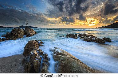 όμορφος , phuket , παραλία , kalim-patong, ηλιοβασίλεμα