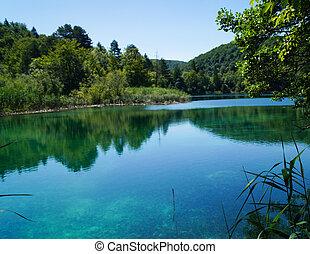 όμορφος , plitvice, γαλάζιο ερυθρολακκίνη , πράσινο , εικοσιτετράωρο ανέφελος , νερό